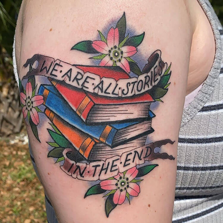 we are all stories book quote tattoo