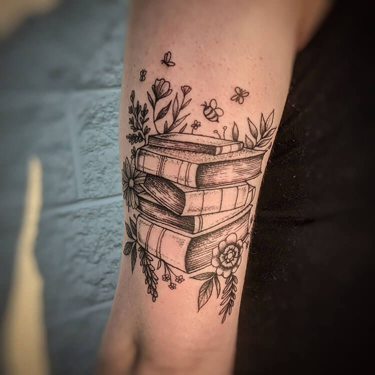 books with flowers and bees