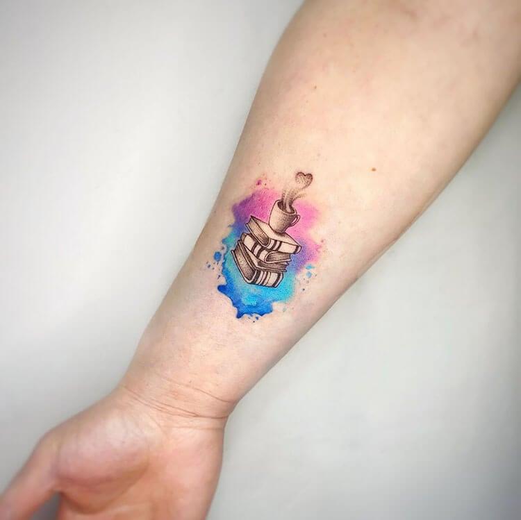 watercolor book tattoo