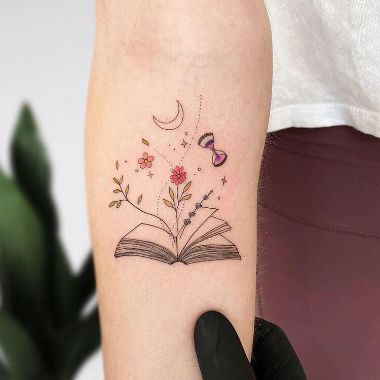 book with flowers and moon