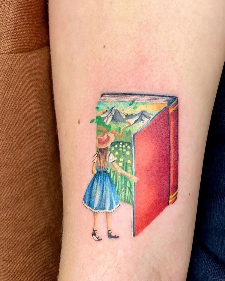 girl walking into book