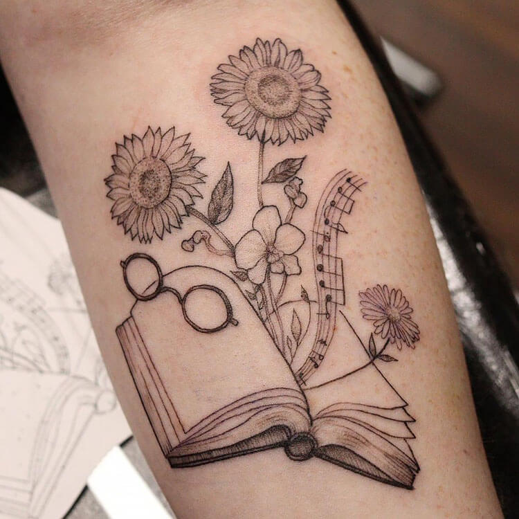 glasses music notes flowers and book