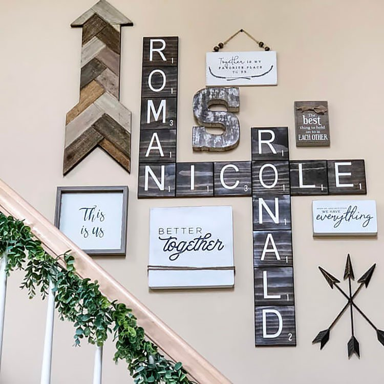 scrabble tiles with wall art