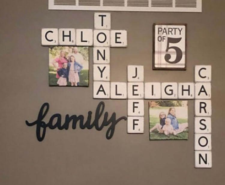 scrabble tiles with family photos