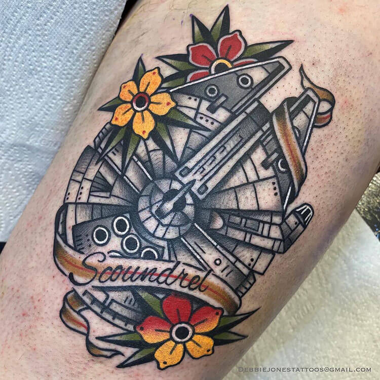 SCOUNDREL TATTOO WITH FLOWERS