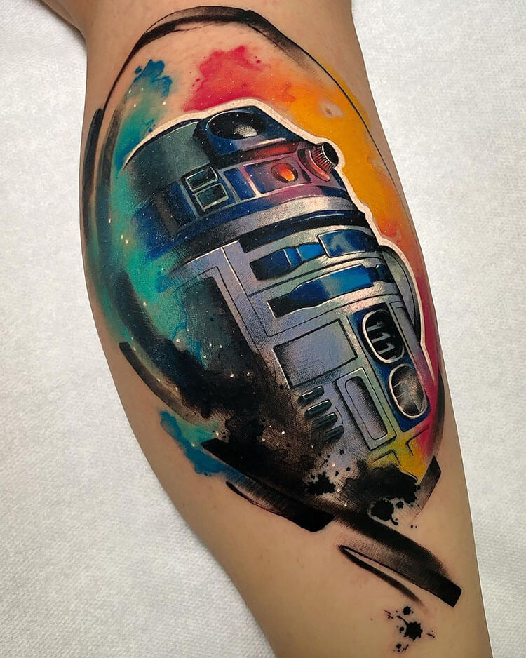 R2D2 COLORFUL TATTOO