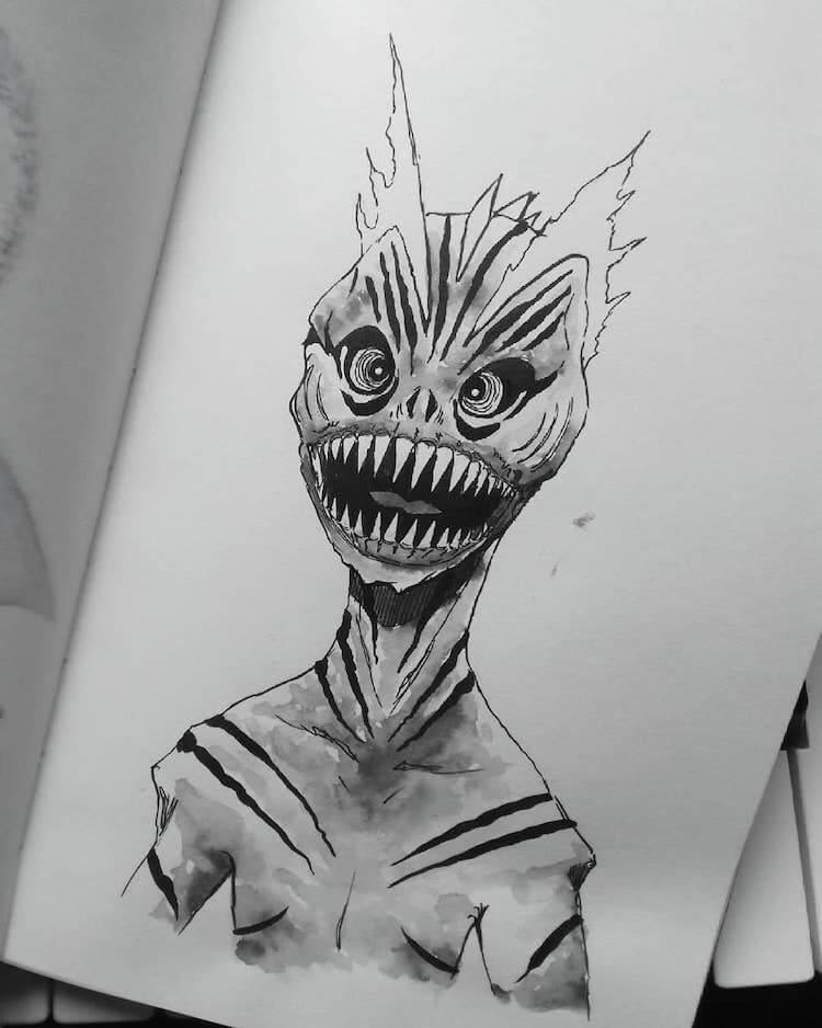 Piranha monster drawing