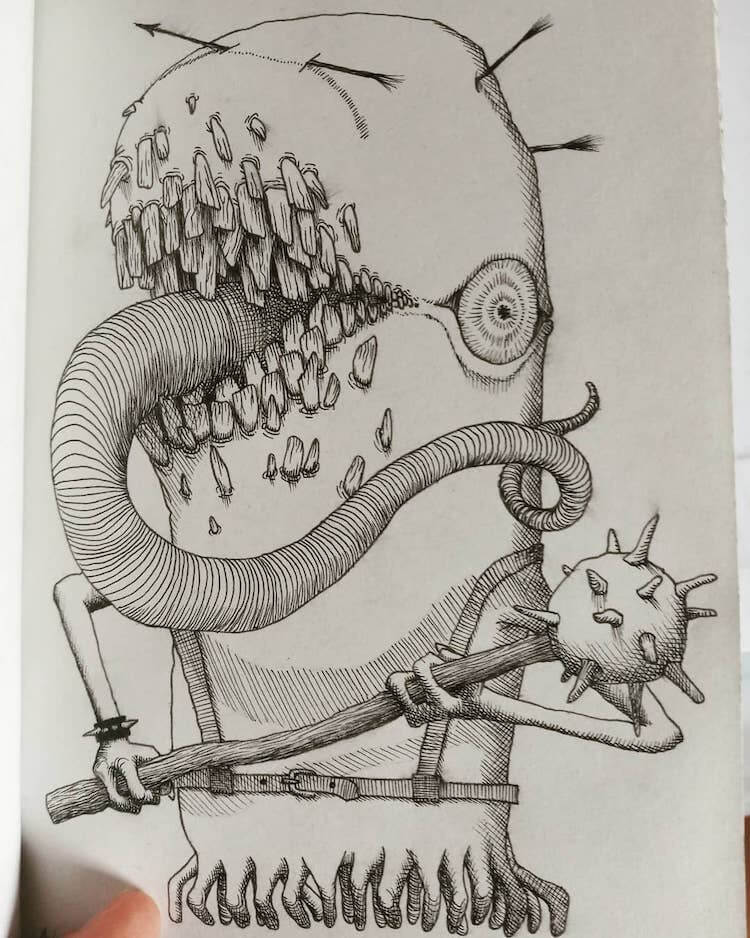 monster holding spiked mace
