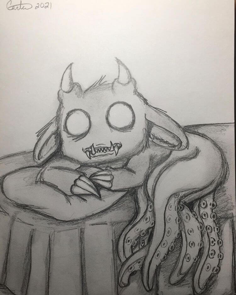 monster with tentacles and horns