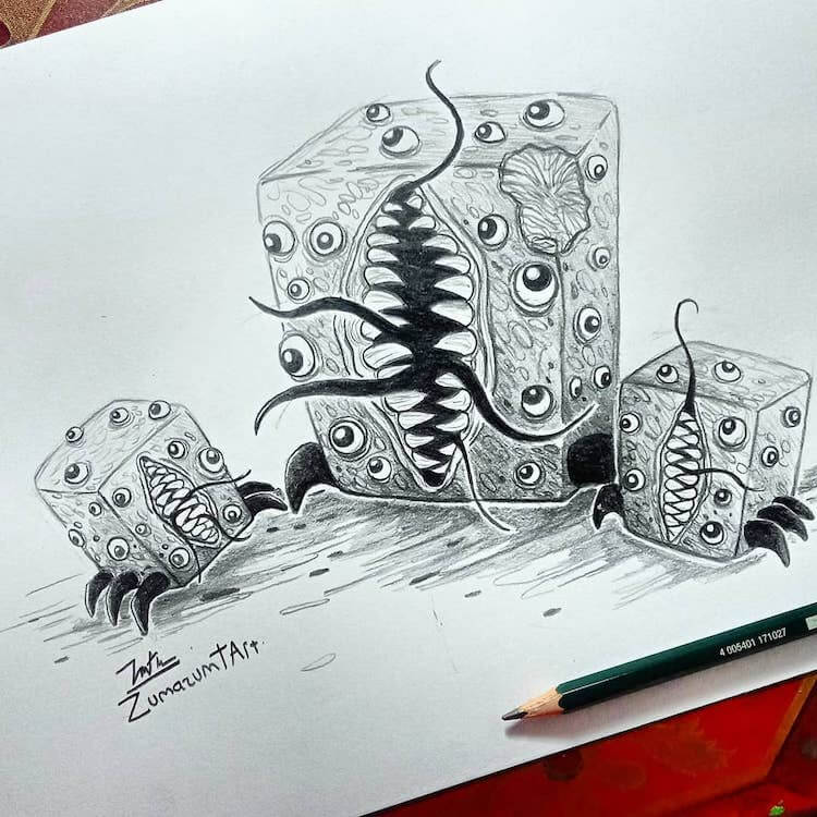 monster with a lot of eyes and teeth
