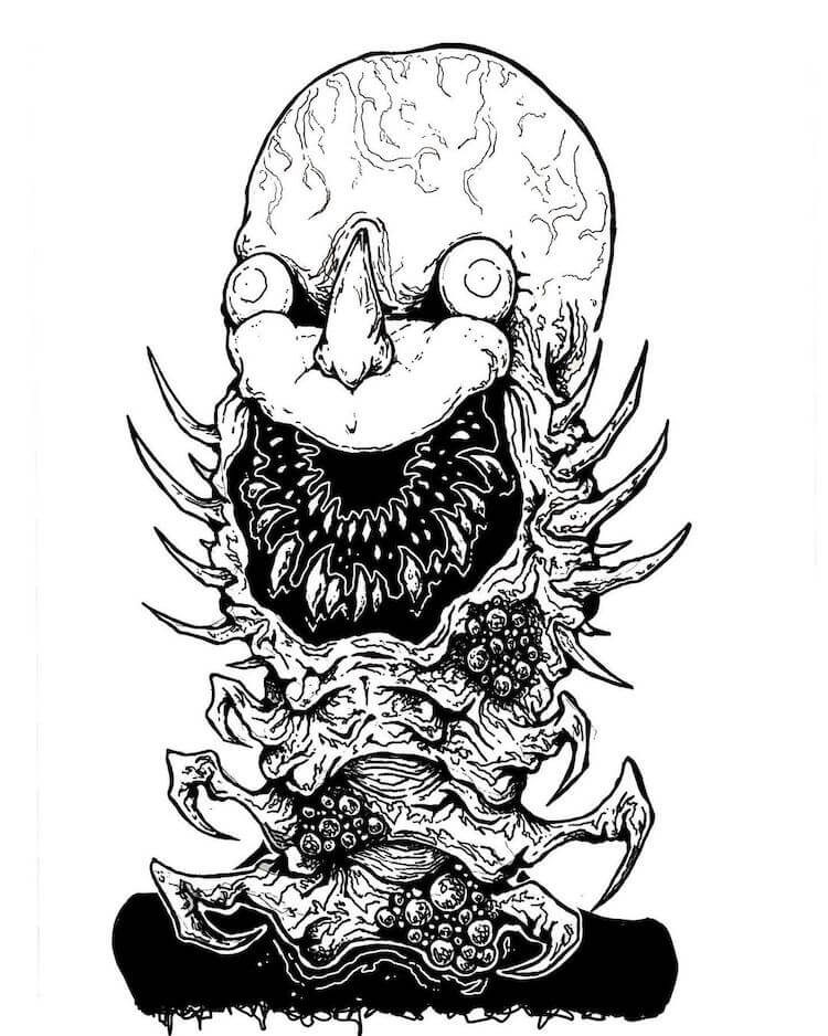 monster with large head and a lot of teeth