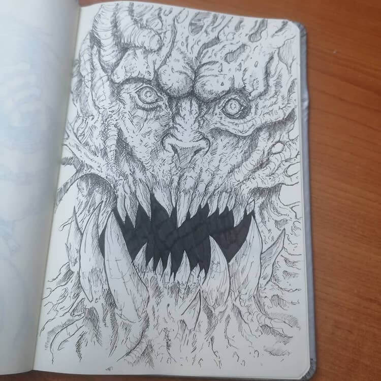 monster face with large teeth