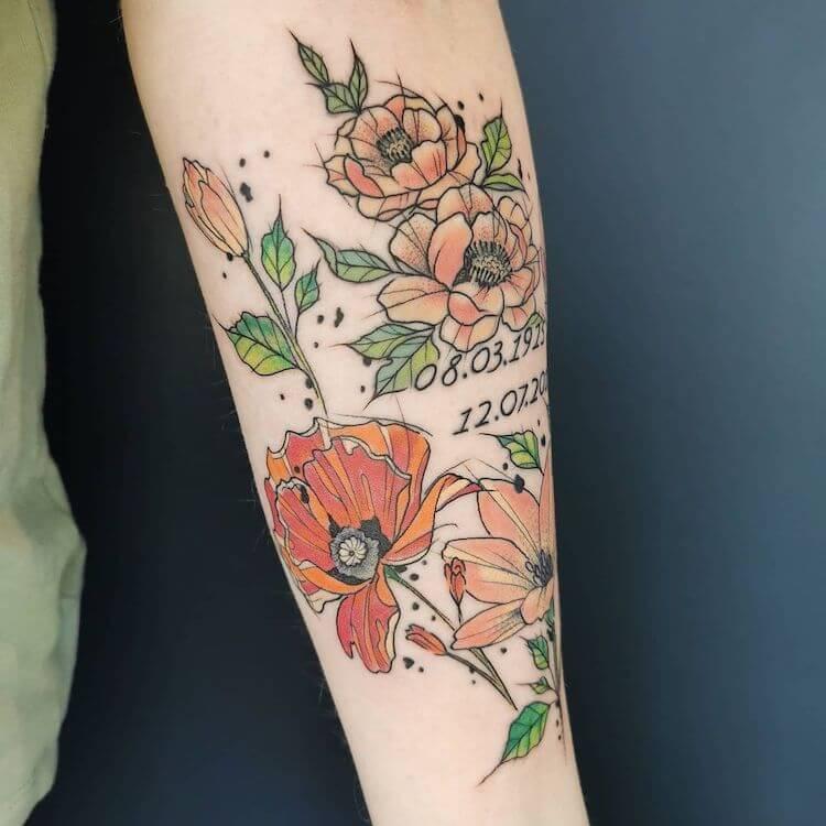 PINK AND ORANGE FLOWER TATTOO