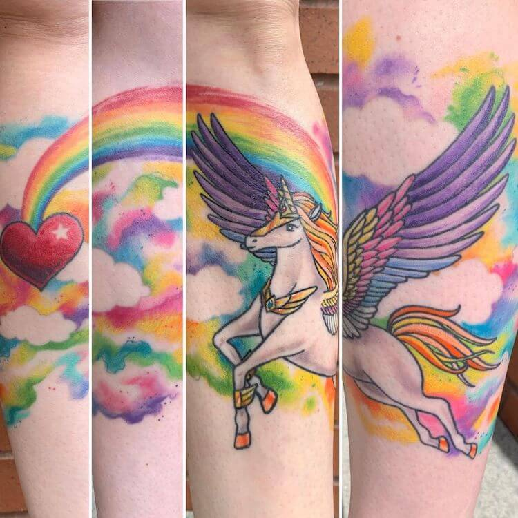 rainbow alicorn tattoo