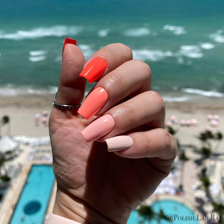 red and orange press on nails