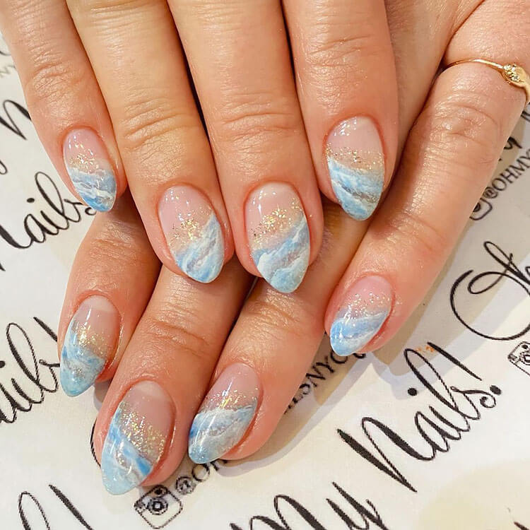 hand painted beach nails