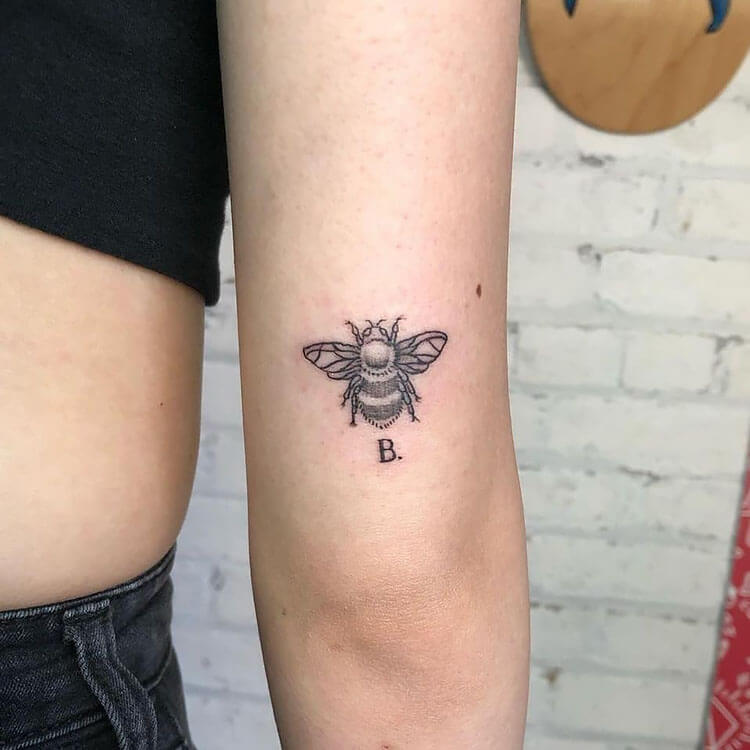 bee tattoo with initial