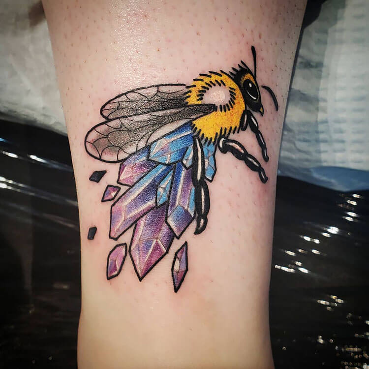 bee with crystals