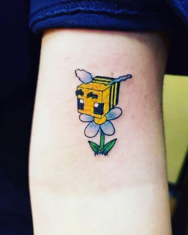 minecraft bee and flower tattoo