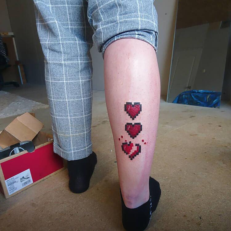 minecraft heart tattoo on leg