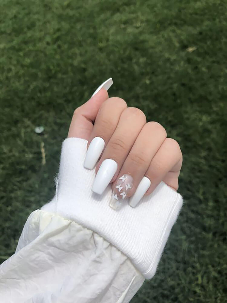 white butterfly nails