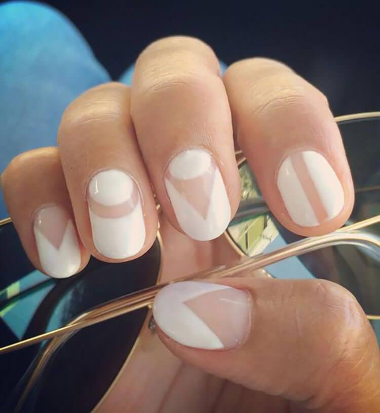 white geometric gel nails