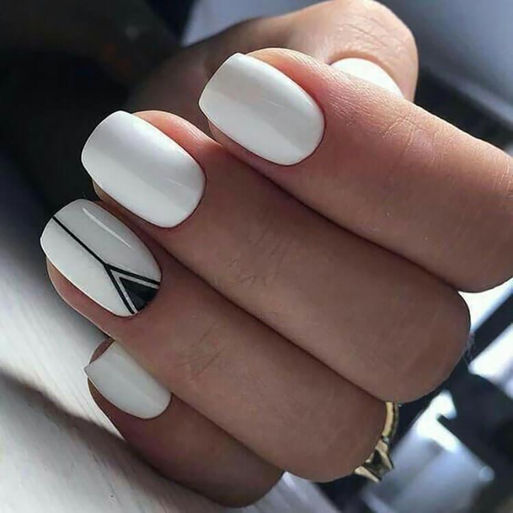 white nails with geometric shape