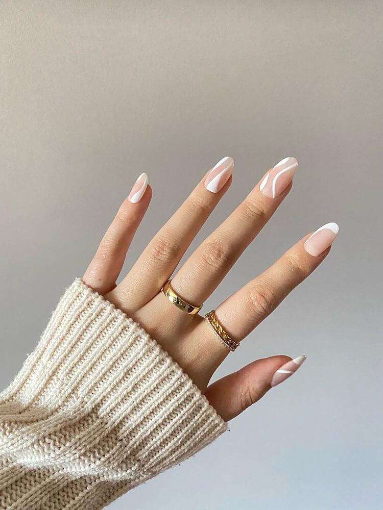 white swirls acrylic nails