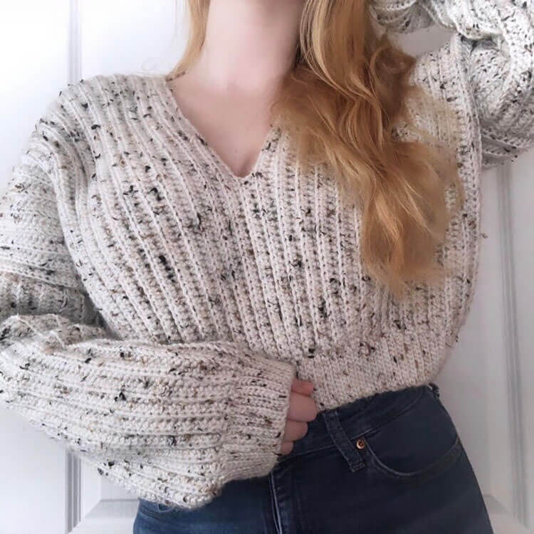 Slouchy Cropped V-Neck Sweater