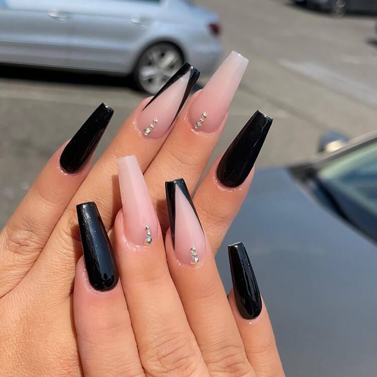 black v tips nails and rhinestones