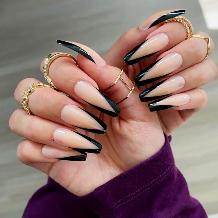Black V-Shape Coffin Press on Nails