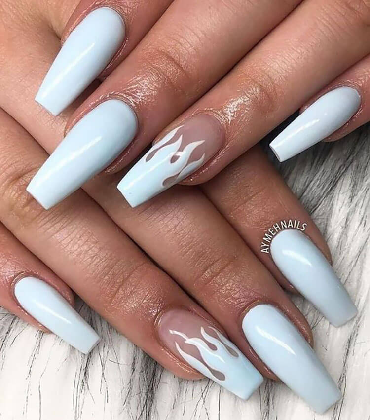 blue flame nails