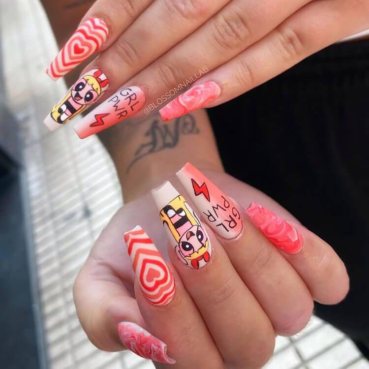 powerpuff girl nails