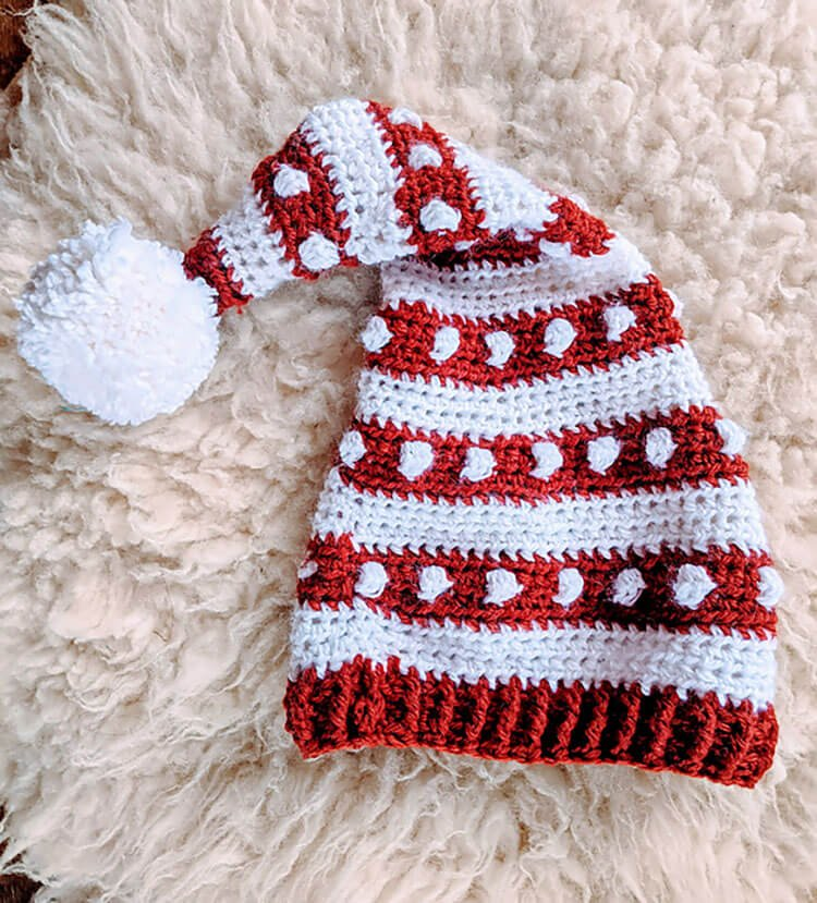 Bobbles and Stripes Santa Hat