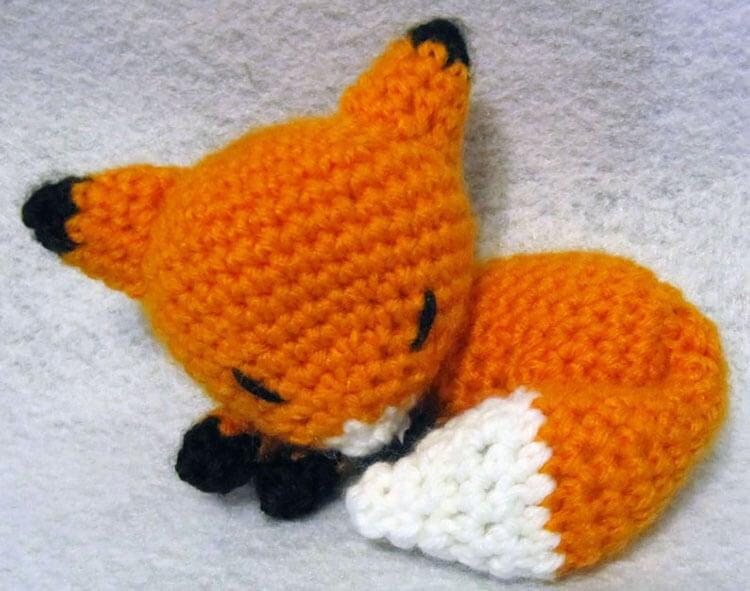 crochet sleeping fox