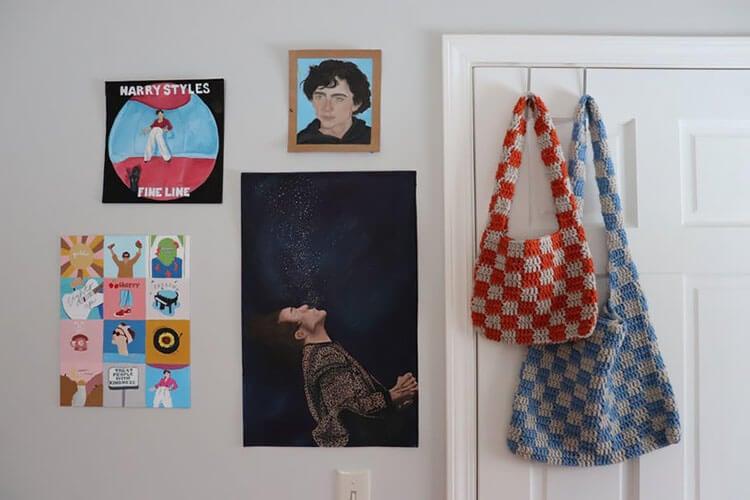 Checkered Crochet Bag