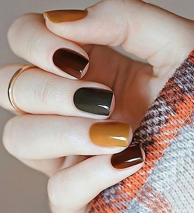 burnt fall color nails