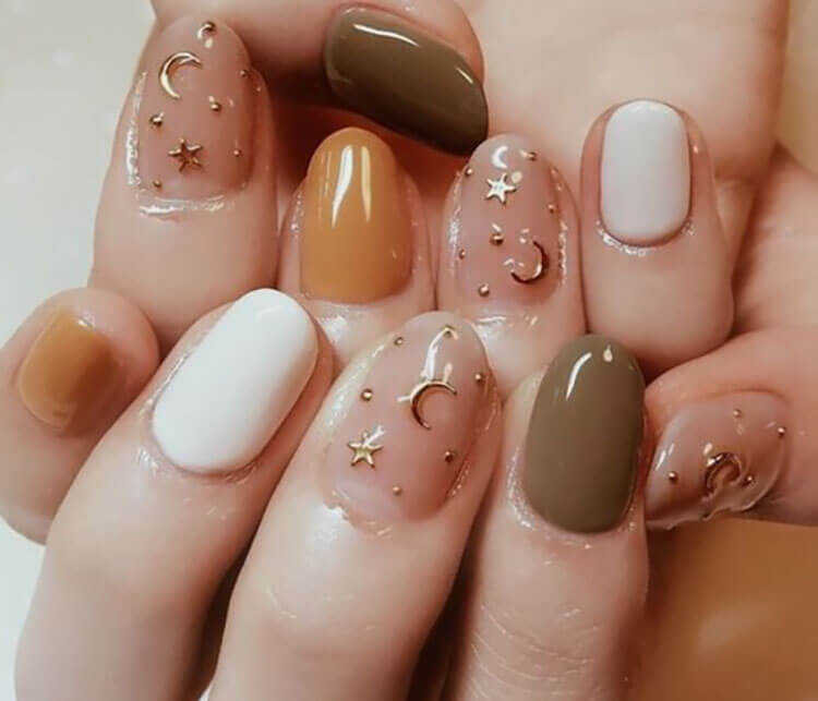 fall nails with stars and moons