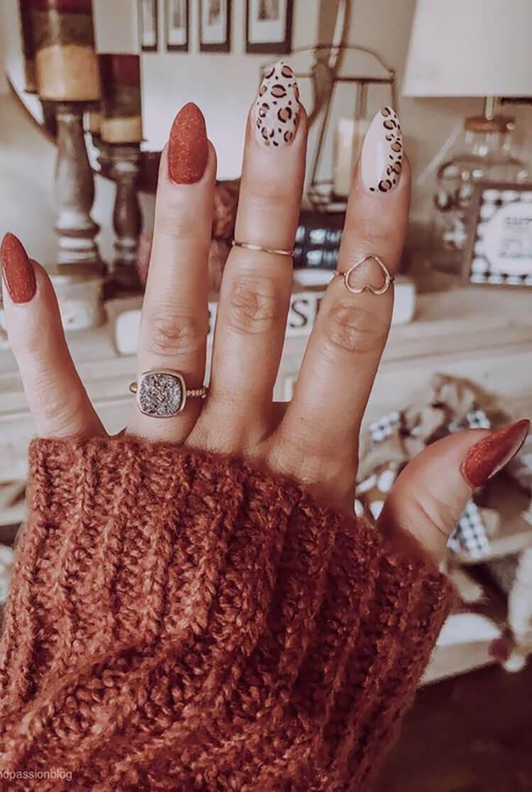 orange and leopard nails