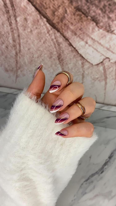 striped burgundy nails