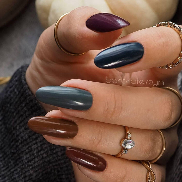 blue and brown fall nails