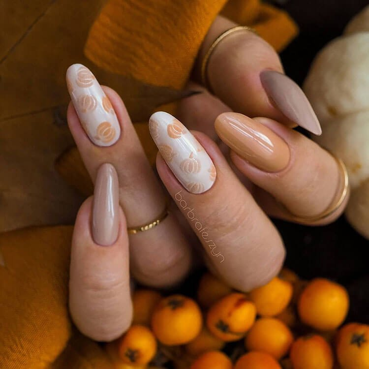 nails with pumpkins