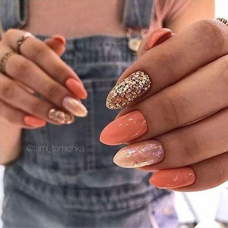 glitter and orange nails