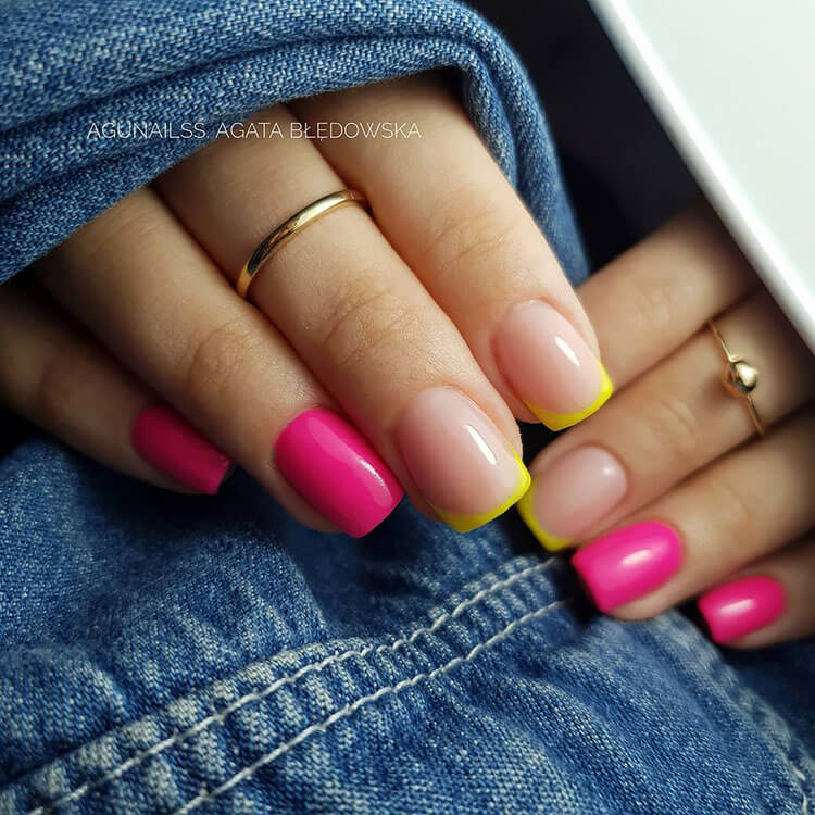 pink and yellow nails