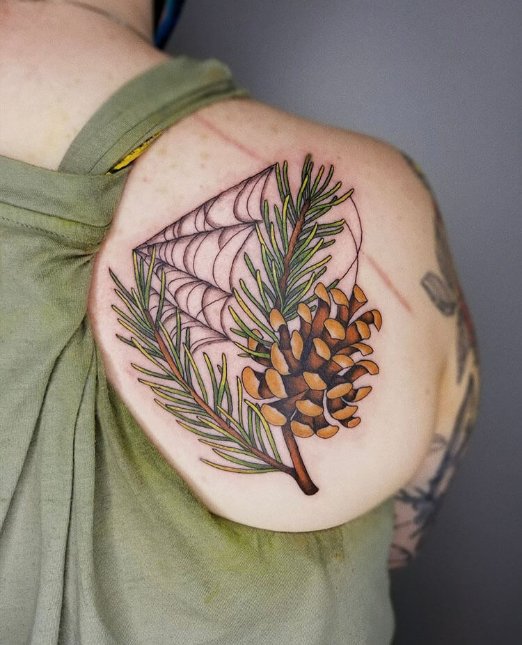 colorful pinecone tattoo