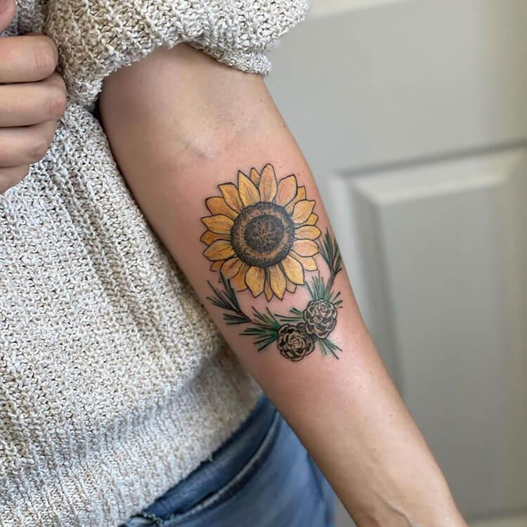 sunflower pinecone tattoo