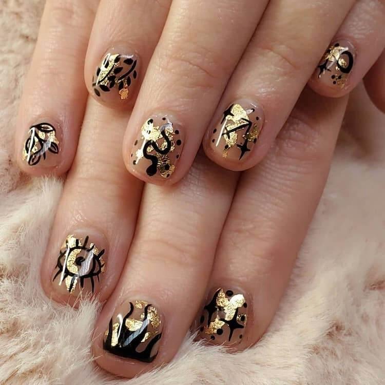 evil eye gold nails