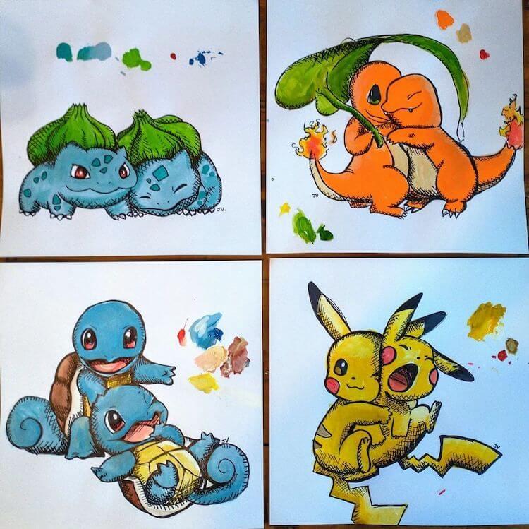 pikachu, bulbasaur, squirtle, charmander drawing