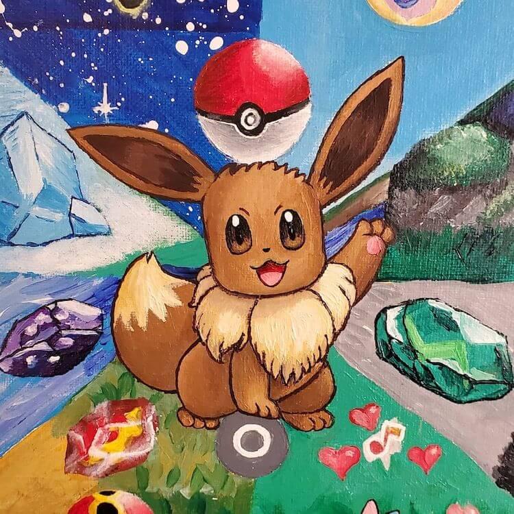eevee pokemon acrylic painting