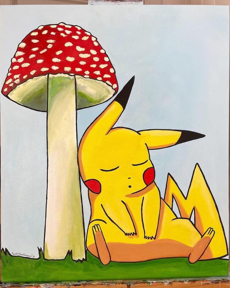 pikachu with mushroom